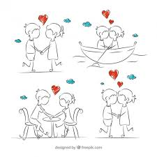 sketches romantic couple in love vector free download
