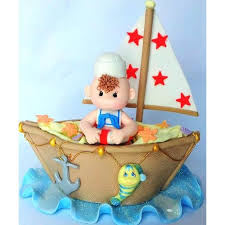 sailboat cake topper sailor baby on boat cake topper nautical baby shower decoration