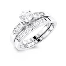 Circle Diamond Wedding Ring by Gold Princess Cut And Round Diamond Engagement Ring Set 1 1ct