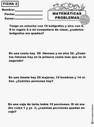 problemas razonados para cuarto grado problemas de matematica para el segundo grado de primaria segundo