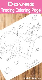 free printable doves tracing coloring trail colors