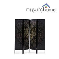 4 panel room divider brand new timber wooden black patterned 4 panel fold screen room