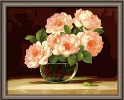 pink rose bushes in vase flower diy oil painting by number kit picture canvas gift frameless with wood frame framed 16x20 inch in painting calligraphy