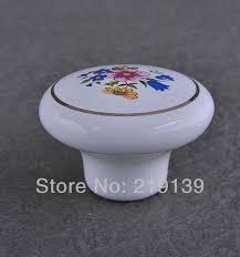 porcelain kitchen cabinet knobs flower single ceramic furniture kitchen cabinet hardware