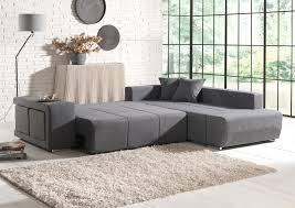 canap d angle convertible avec pouf deco in canape d angle convertible tissu gris 2 poufs mila