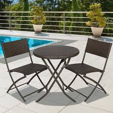 Folding Bistro Table And 2 Chairs Best Choice Products 3 Outdoor Patio Folding Rattan