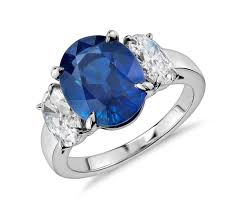 oval sapphire engagement rings oval sapphire and three ring in platinum 5 01 ct