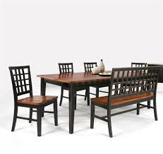 dining table with lattice back bench u0026 4 side chairs by intercon