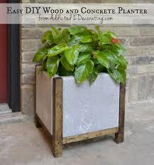 diy planters diy wood and concrete planter