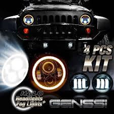 halo jeep wrangler led halo headlights u0026 led fog light drl combo kit for jeep