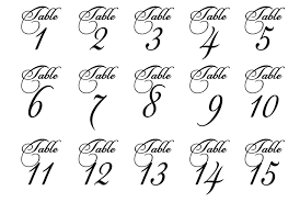 wedding table number fonts wedding table numbers fancy script font vinyl table numbers