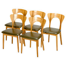 Tan Faux Leather Dining Chairs Five Dining Chairs Model Peter By Niels Koefoed In Oak At 1stdibs