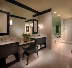 Cabin Bathroom Vanity by Gray Wall Paint Glass Shower Cabin Parttion Walls Recessed Ceiling