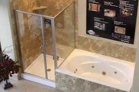 Bathroom With Shower And Bath Trendy White Acrylic Corner Bathtub With Shower Cubicle And Brown