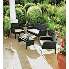 Folding Garden Chairs Argos Buy Rattan Effect 4 Seater Garden Patio Furniture Set Black At