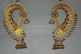 kaan earrings gold ear jhumka by bhima jewellery designs
