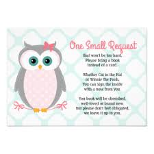 Baby Shower Instead Of A Card Bring A Book Owl Baby Shower Invitations U0026 Announcements Zazzle