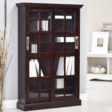 Wide Bookcase With Doors Furniture Espresso Untreated Oak Small Bookcase With Glass Panel