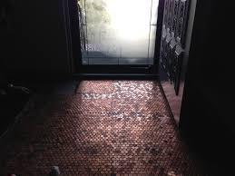 copper penny floor installation pennyfloor pretty purple door