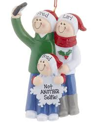 selfie family of 3 personalized ornament