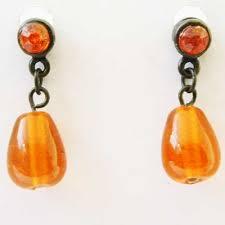 sixties earrings glass bead drop earrings with diamante sixties