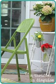 Folding Patio Chairs A Thrifter In Disguise Diy Metal Folding Patio Chairs Makeover