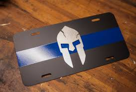 Spartan Home Decor by Spartan Thin Blue Line License Plate Steel Stainless Steel
