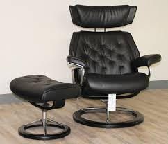 Recliner Chair With Ottoman Stressless Skyline Signature Base Medium Paloma Black Leather