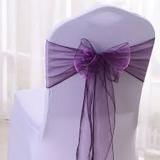 chair bows free shipping 100pcs purple organza chair sashes wedding chair