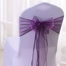 wedding bows for chairs free shipping 100pcs purple organza chair sashes wedding chair