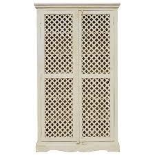 Door Armoire Farmhouse White Solid Wood Storage Cabinet Lattice Door Armoire