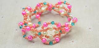 easy pearl bracelet images Easy pattern on making pink beaded pearl bracelet at home jpg