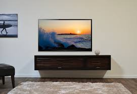 furniture brown wooden floating media cabinet with storage and