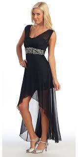 black semi formal chiffon dress high low wide strap rhinestone