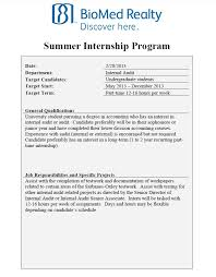 Internal Audit Job Description For Resume by Biomed Realty Summer Internal Audit Internship Opportunity