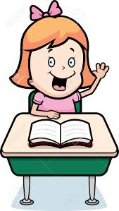 a happy cartoon child student at a desk in royalty free