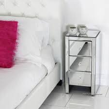 Silver Mirrored Nightstand Furniture Chairside Chest Mirrored Nightstand Eco Friendly