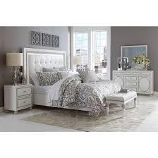aico michael amini sky tower platform bedroom set in white cloud