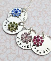 children s birthstone necklace personalized necklace family personalized flower birthstone