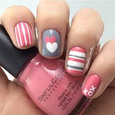 35 cute valentine u0027s day nail art designs pink grey gray and