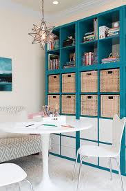 Bookcase With Baskets Blue Lacquered Office Bookcase Design Ideas