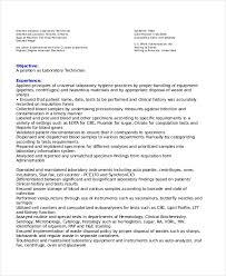 Sample Resume For Medical Laboratory Technician by Lab Technician Resume Template 7 Free Word Pdf Document