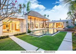 Interior Exterior Design | luxury exterior design pool villa interior stock photo 666248572