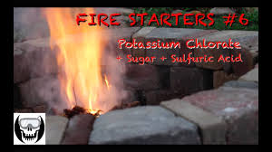 fire starters using flames to fire starters 6 potassium chlorate sugar and sulfuric acid
