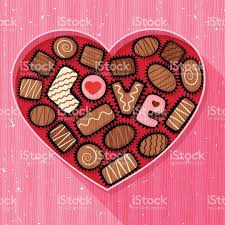 heart shaped candy heart shaped box of fancy chocolates and candy stock vector