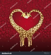 s day giraffe big heart formed by giraffes stock illustration 348821231
