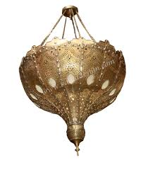 Brass Chandelier Large Moroccan Brass Chandelier With White Glass From Badia Design