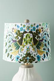 peacock badia embroidered lamp shade anthropologie