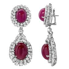 ruby drop earrings cabochon ruby diamond drop earrings in gold for sale at 1stdibs