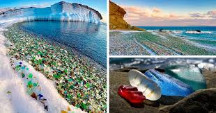 glass beach russians throw away empty vodka and beer bottles ocean turns them